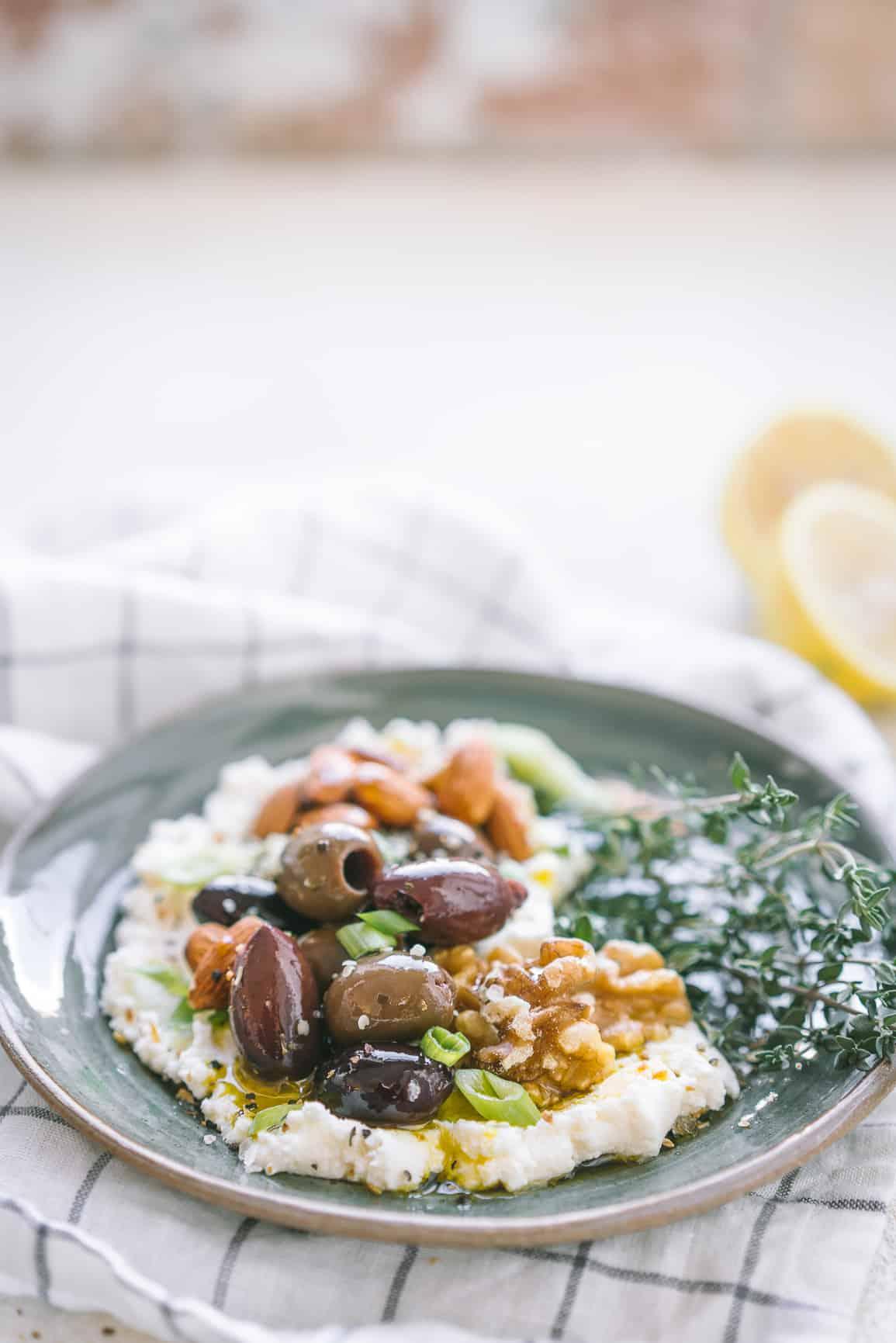Savory Ricotta Olive Nut Bowl {Low-Carb & Keto}