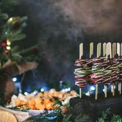 Chocolate Drizzled Fruit Kebobs with DIY Kebob Holder