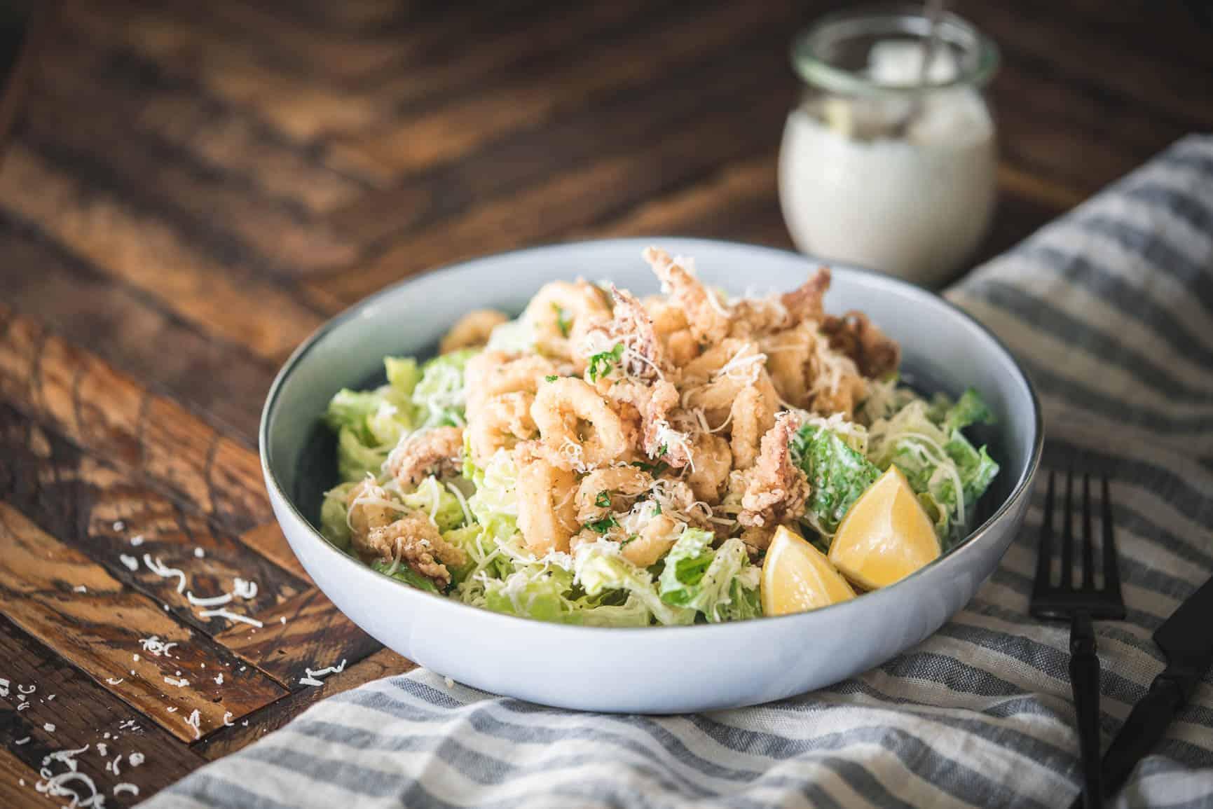 Calamari Caesar Salad {Grain-Free & Gluten-Free}