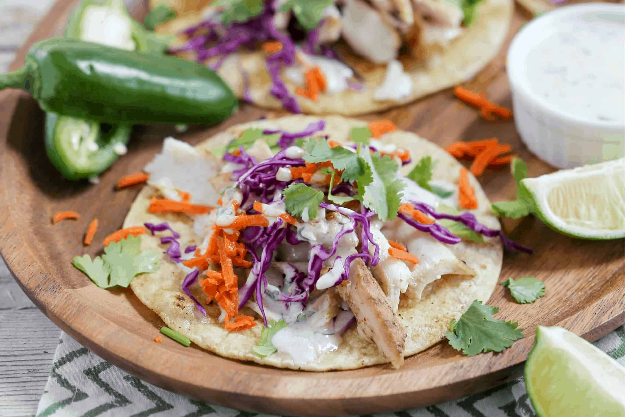 Grilled Fish Tacos with Fermented Cilantro Kefir Sauce {Gluten-Free}