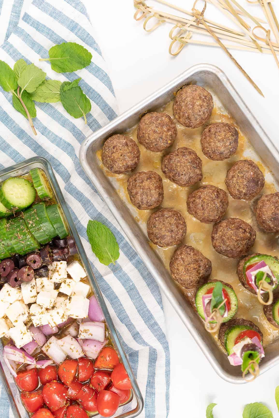 Game Day Greek Gyro Meatball Bites {Keto, Low-Carb & Gluten-Free}