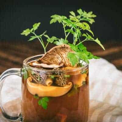 Pressure Cooker Wild Mushroom Broth