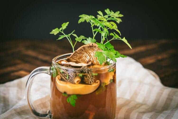 Pressure Cooker Wild Mushroom Broth made with Dried Mushrooms