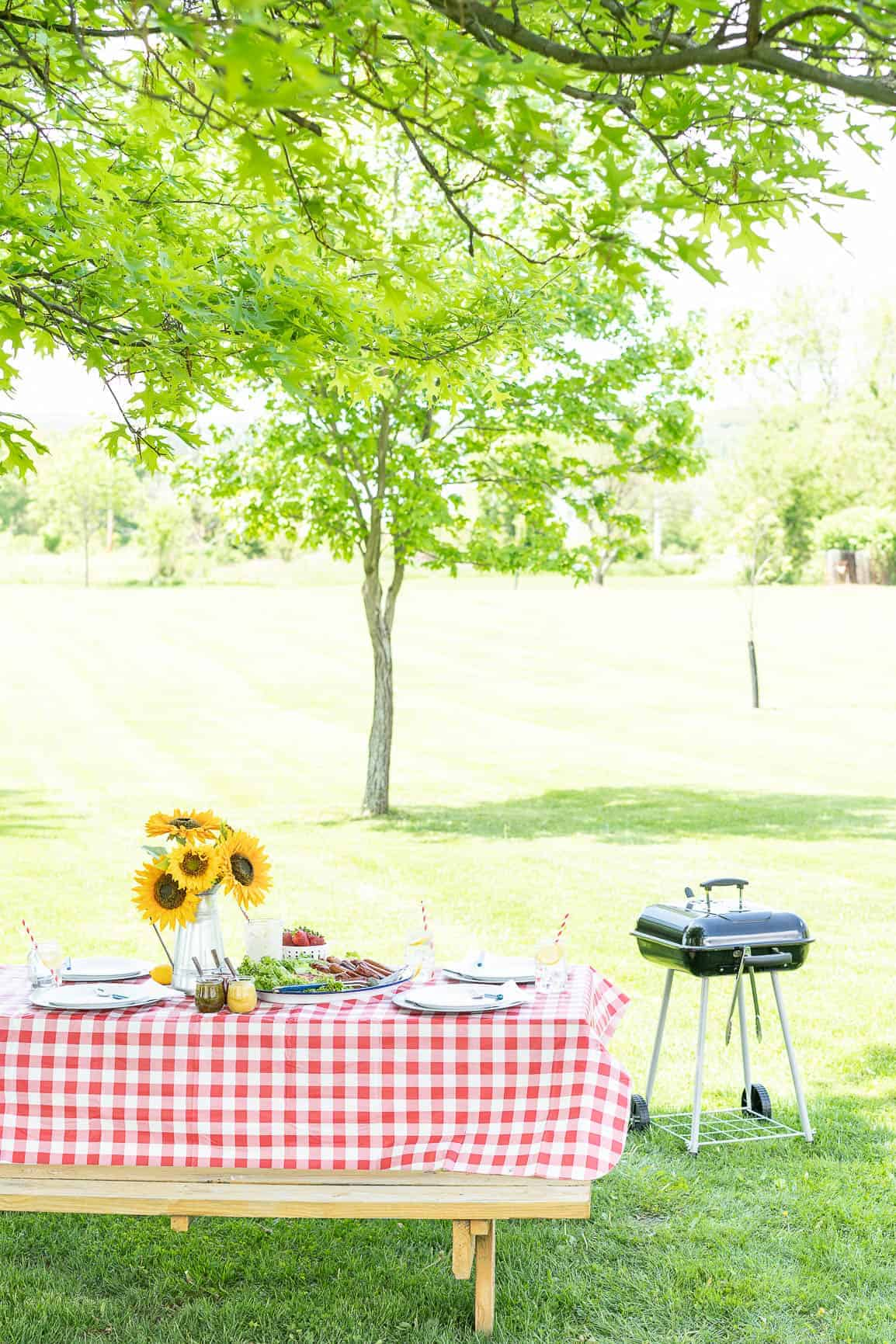 picnic table set in a field with a charcoal grill