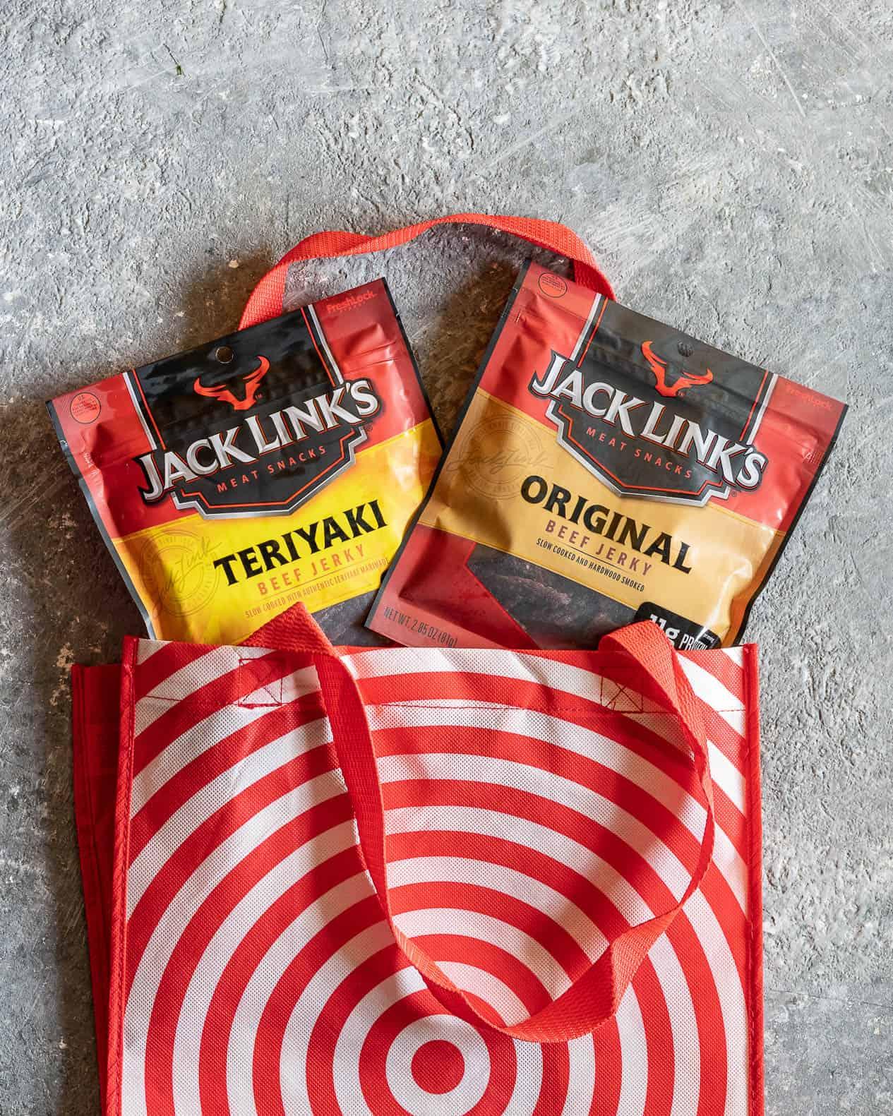 Jack Links Jerky in a Target Bag
