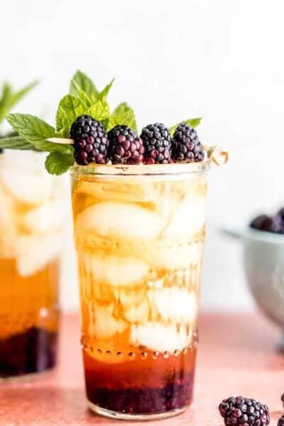 Sparkling Peach Tea Blackberry Smash Mocktail
