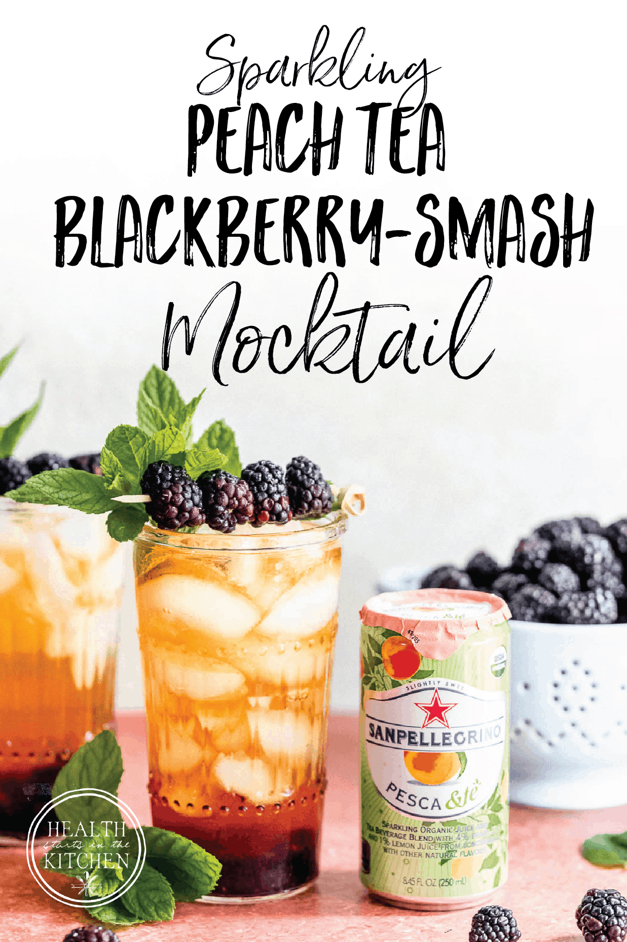 Sparkling Peach Tea Blackberry Smash Mocktail