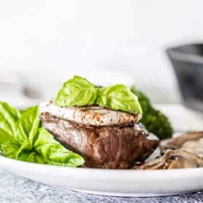 Goat Cheese-Topped Filet Mignon Steak with Balsamic Reduction