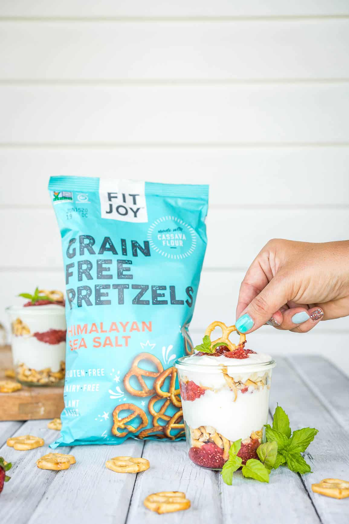 Grain-Free Healthy Strawberry Pretzel Dessert Parfaits