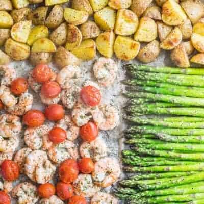 Healthy Sheet Pan Shrimp Asparagus Potato Dinner Recipe