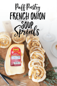 All the delicious flavors of French Onion Soup in-between layers of flakey puff pastry with a flavorful punch of from Jarlsberg Swiss cheese! My French Onion Soup Spirals are the perfect appetizer for your next get together or make a batch to enjoy as a snack or light meal!