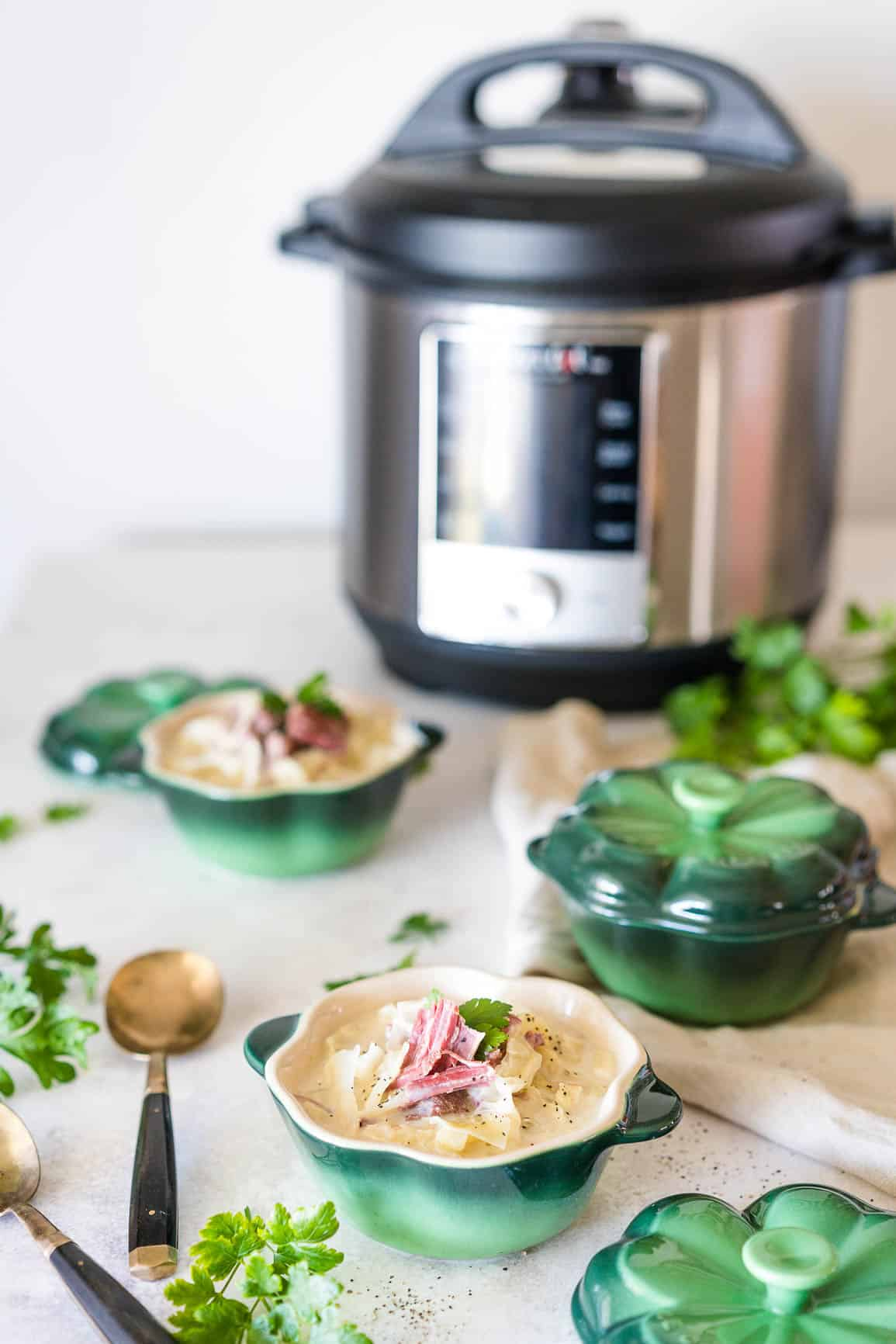 My Keto Creamy Corned Beef Soup is chock full of corned beef and cabbage flavor, swimming in a bowl of creamy deliciousness. Made quickly in your Instant Pot or pressure cooker, that's low-carb, gluten-free & grain-free!
