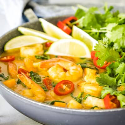 Easy Yellow Curry Shrimp with Butternut Squash and Spinach