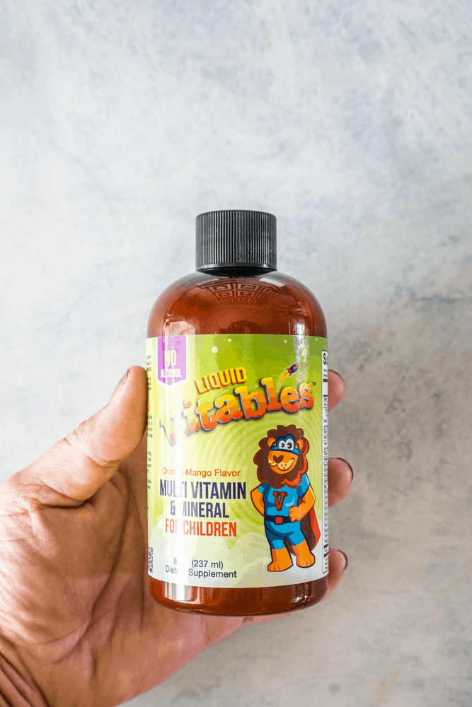 Vitables Liquid Multi-Vitamin and Mineral for Children in a brown bottle with green label.