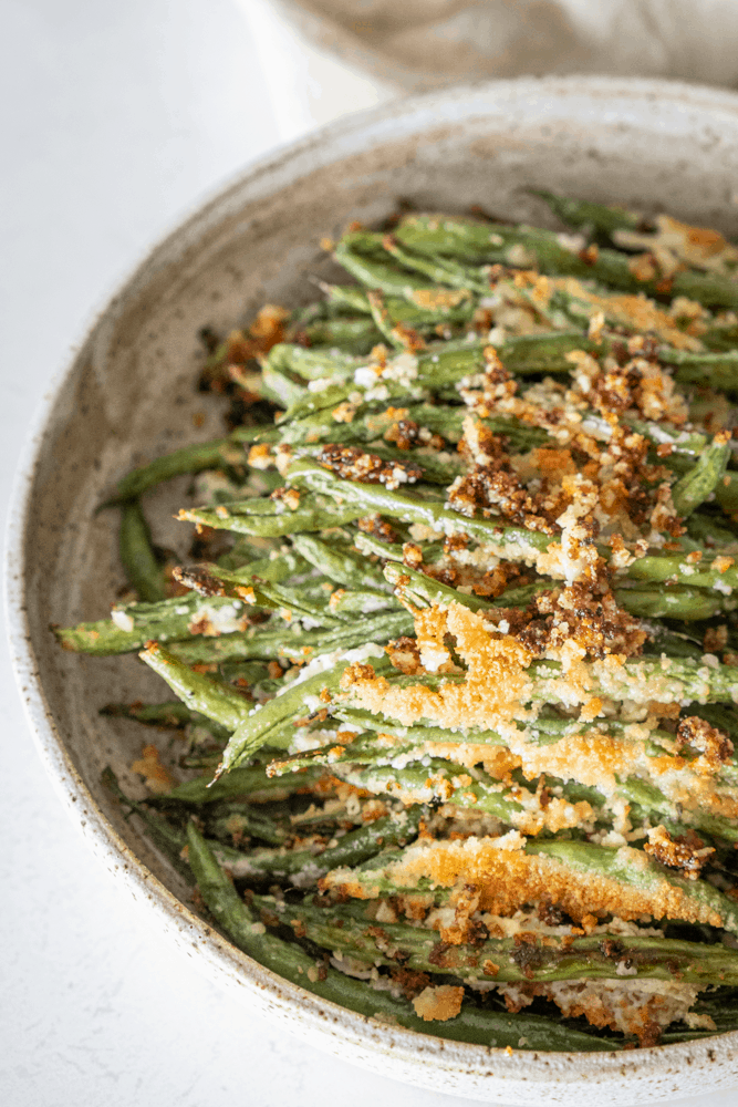 Easy Roasted Garlic Parmesan Green Beans {Keto, low carb & gluten free}