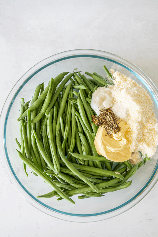 Green Beans, butter, parmesan cheese, Italian seasoning, sea salt and black pepper