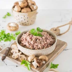 My All-Purpose Mushroom Meat Mixture Recipe is one of the most delicious ways to not only enjoy mushrooms but also turn ordinary dinners into superfood packed indulgence! This seasoned meat mixture is extremely versatile, perfect to be used as meatballs, filling for Stuffed Peppers, Salisbury steak, Meatloaf, etc.. and it's gluten-free, grain-free, low-carb and Keto!