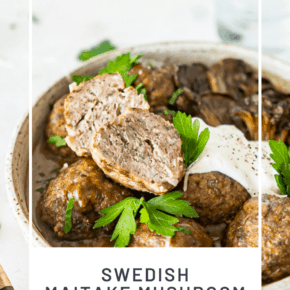 Using finely chopped mushrooms in this Maitake Mushroom Meatballs with Recipe is the key to some of the most tender and flavor filled meatballs you'll ever eat!