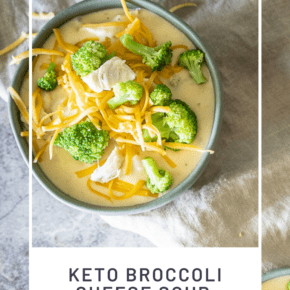From start to finish, you need less than 30 minutes to whip up a batch of my Easy Keto Broccoli Cheese Soup with Chicken. Thick, creamy and delicious, you'll never guess that this low carb soup has only 9g net carbs per serving!