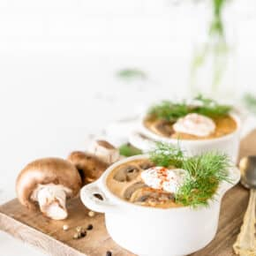 le creuset ramekins filled with rustic Hungarian mushroom soup