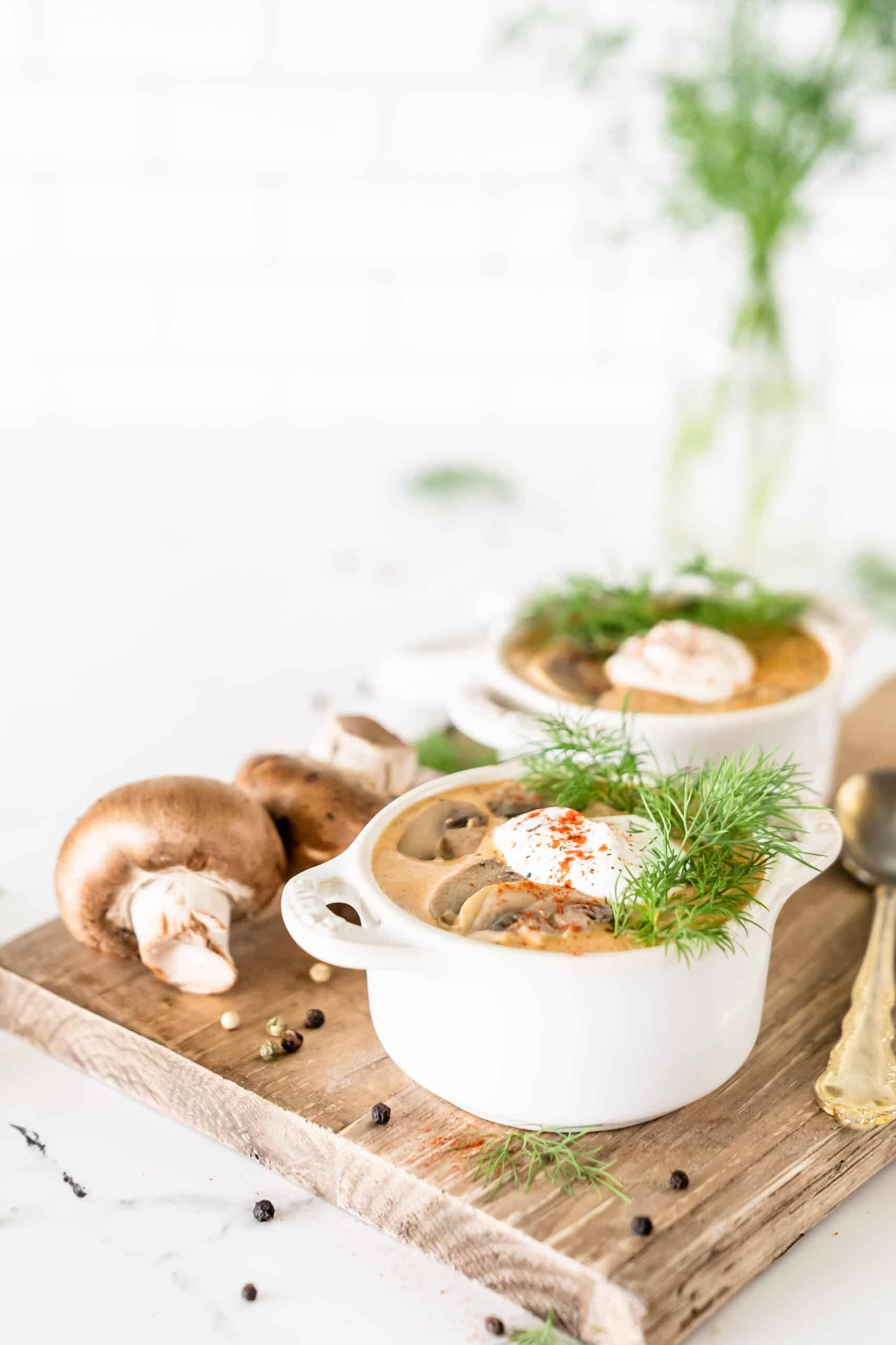 le creuset ramekins filled with rustic Hungarian mushroom soup
