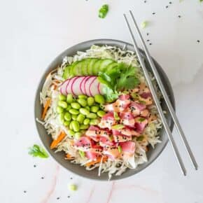 Making Poke at home may seem intimidating but with my Easy Keto Spicy Ahi Tuna Poke Bowl Recipe, you'll be shocked at how easy making your restaurant favorite dish at home can be!
