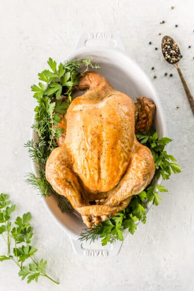 whole chicken with brown crispy skin surrounded by fresh herbs on a white background