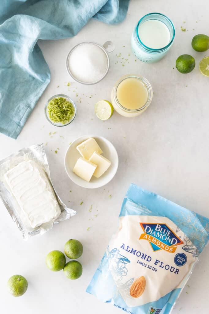sugar free Key lime pie in a jar ingredients