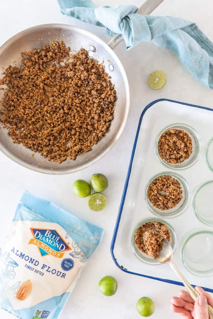 sugar free Key lime pie in a jar crust