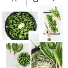 Creamed Ramp Greens Recipe Pin for Pinterest