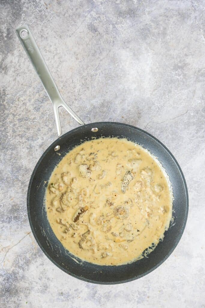 skillet with morel mushroom ramp cream sauce