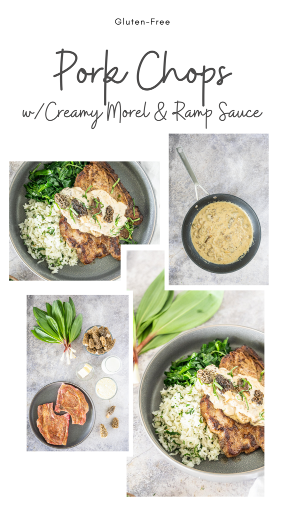 collage of images showing the finished dish and progress shots of pork chops with morel ramp cream sauce