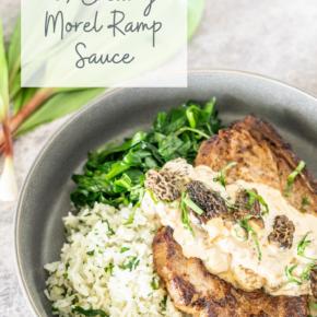 pinterest pin for Pork chops with morel ramp cream sauce